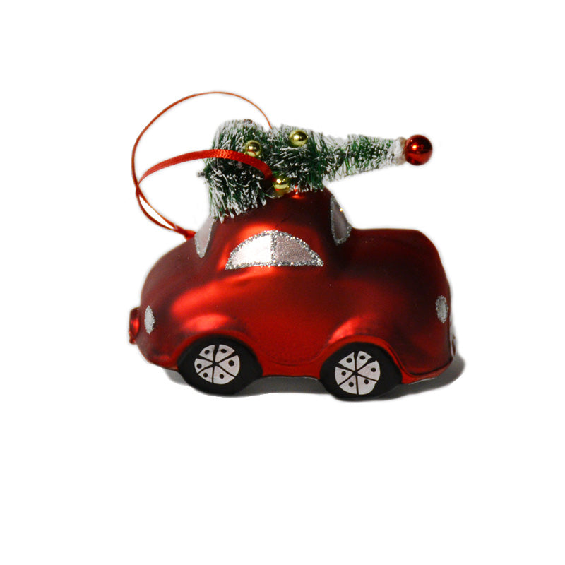 Vintage Red Car with Tree Ornament