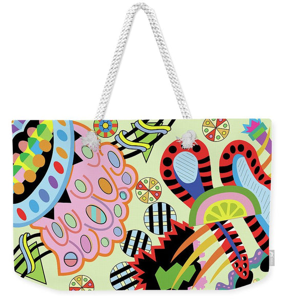 Candy World design on Tote Bag - white rope