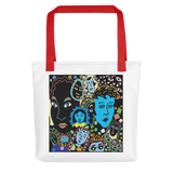 Women Faces Tote Bag, red rope color