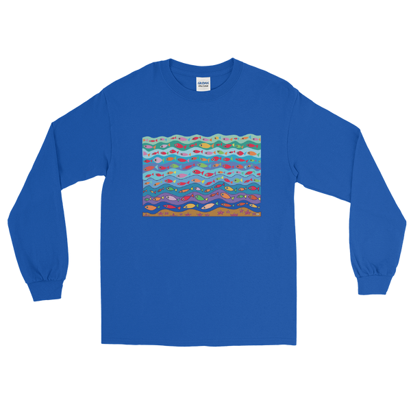 Swimming Fish Long Sleeve T-Shirt - Royal Blue