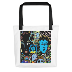 Women Faces Tote Bag, black rope color