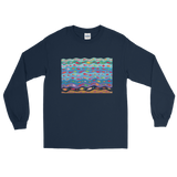 Swimming Fish Long Sleeve T-Shirt - Navy Blue