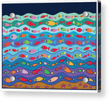Swimming Fish - Acrylic Print shown with aluminum mounting posts