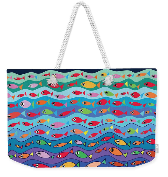 Swimming Fish - Weekender Tote Bag - white rope color