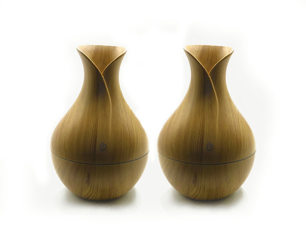 2 Essential Oil Aromatherapy Wood Grain Style Diffuser Package