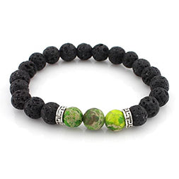 Lava Stone and Green Jasper Essential Oil Diffuser Bracelet