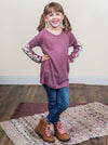 Girls Gabbi's Long-sleeve Tee with Lace Accent, Orchid