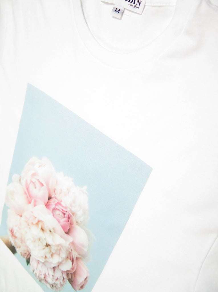 White & Pink Bouqet Tee