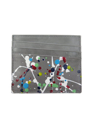 Paint Drop Calfskin Credit Card Holder