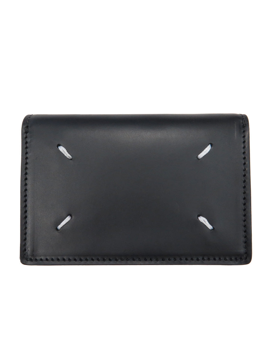 Calfskin Wallet with Exposed Button Closure