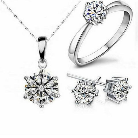 Cubic Zirconia Silver Fashion Jewelry Sets