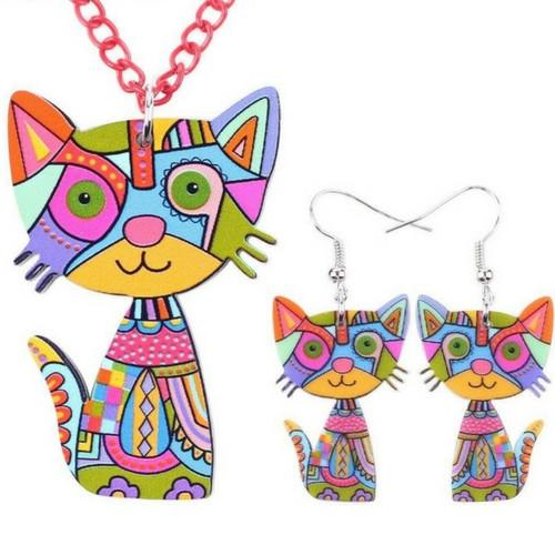 cat necklace and earring set - Gallore Shop
