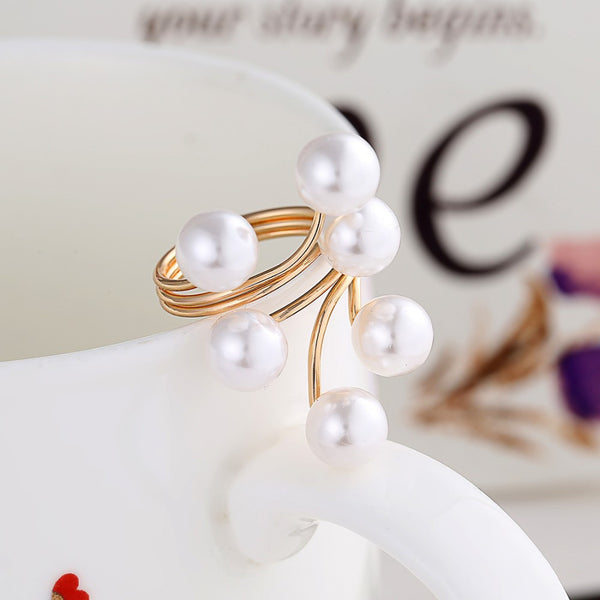 simulated pearl fashion rings rings