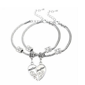 Mother Daughter Heart Charm Bracelet
