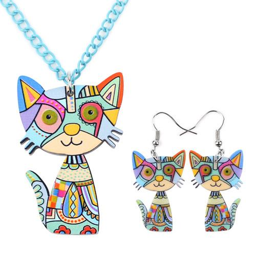 Cat Necklace Earring Set - Gallore Shop