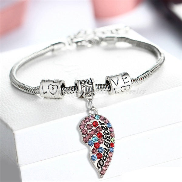 multicolor daughter charm bracelet