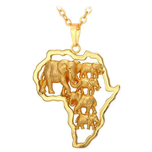 African Map Animal Necklace - Gallore Shop