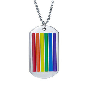 rainbow LGBT dog tag necklace - Gallore Shop