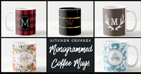5 Monogrammed Coffee Mugs On A Banner