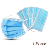 Disposable Face Masks - 3-Ply Breathable & Comfortable Filter Safety Mask - 5 PCS