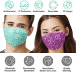 Paisley Washable Reusable Cloth Face Masks (4 Pack - 2 Color Assorted)