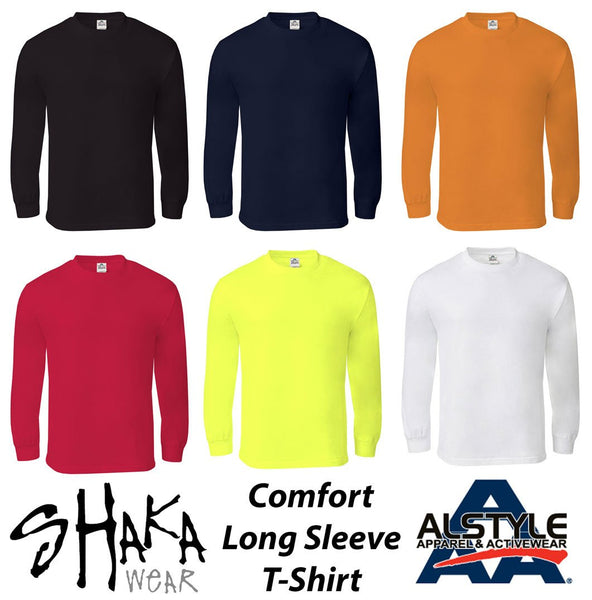 SHAKA & AAA COMFORT PLAIN LONG SLEEVE T-SHIRT - VARIETY OF COLORS AVAILABLE