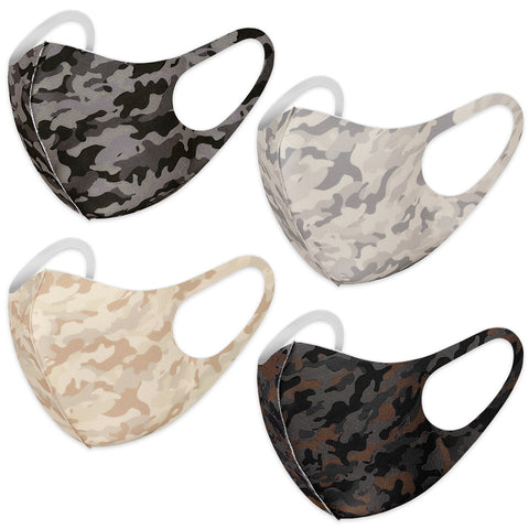 Camouflage Washable Reusable Cloth Face Masks (4 Color Assorted)