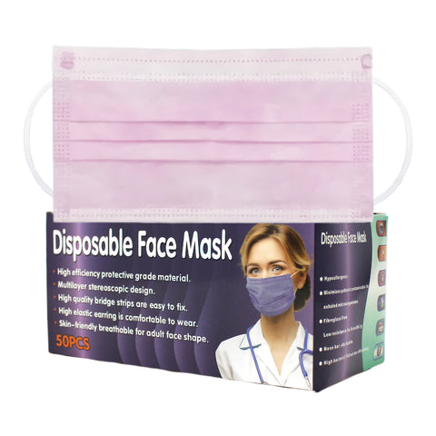 Disposable Face Mask (50 count) Pink Color