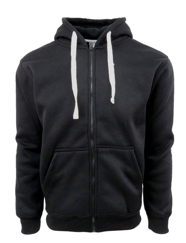 Men's Basic Zip Up Fleece Hoodie Jacket- Black, Charcoal,Grey, Navy, Red