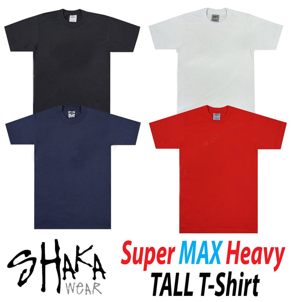 Shaka Super Max Heavy Solid Tall T-Shirt - Variety of Colors Available