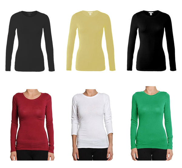 Bozzolo Women's Plain Crew-Neck long sleeve Top - Variety Color - KMOMO