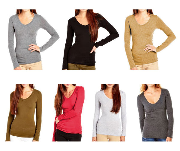 Bozzolo Women's Plain V-neck long sleeve Top - Variety Color - KMOMO