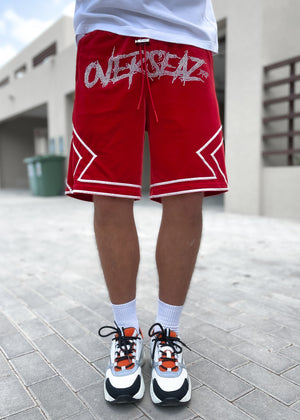 Blood Red Velour Shorts