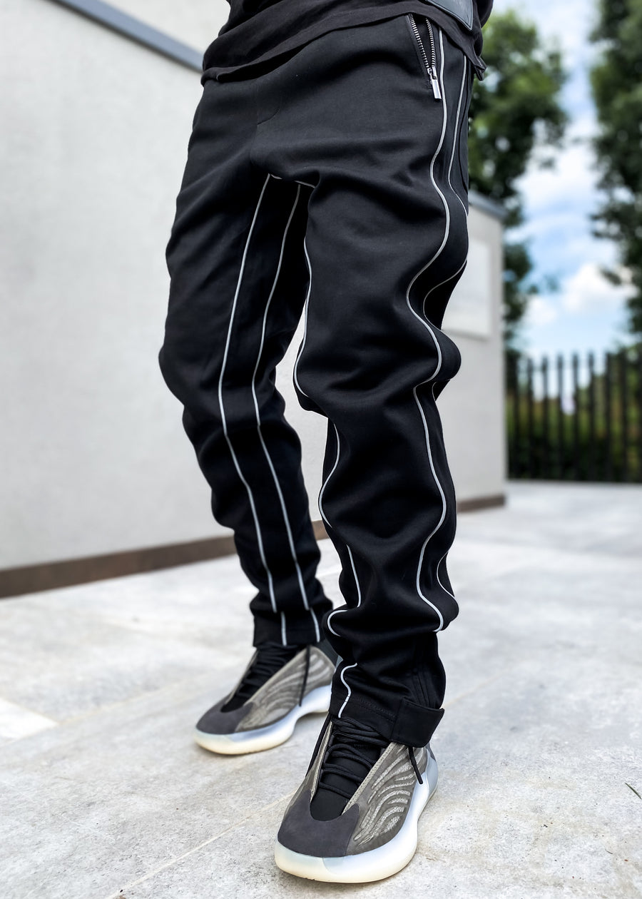 Obsidian Black Baggy Track Pants