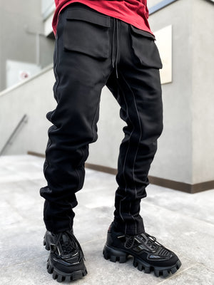 Jet Black Baggy Track Pants