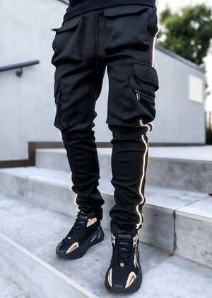 Obsidian Black Tactical Track Pants