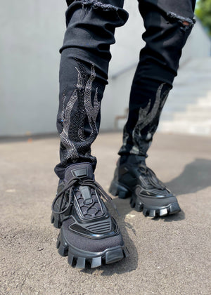 Obsidian Black Flames Denim