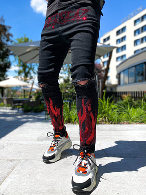 Blood Red Flames Denim