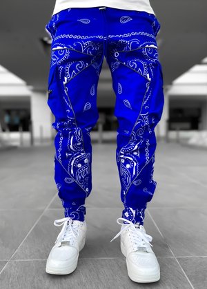 Electric Blue Paisley Cargo Pant