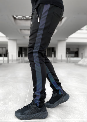 Blue Reflective Track Pants