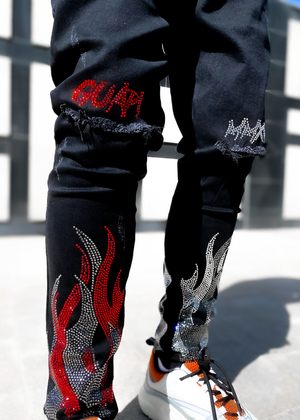Blood Red Split Flames Denim