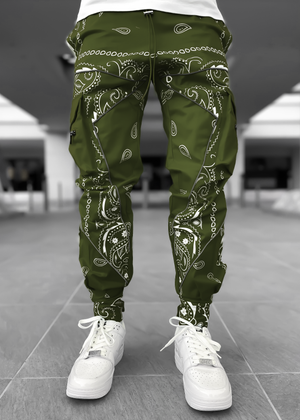 Hunter Green Paisley Cargo Pant