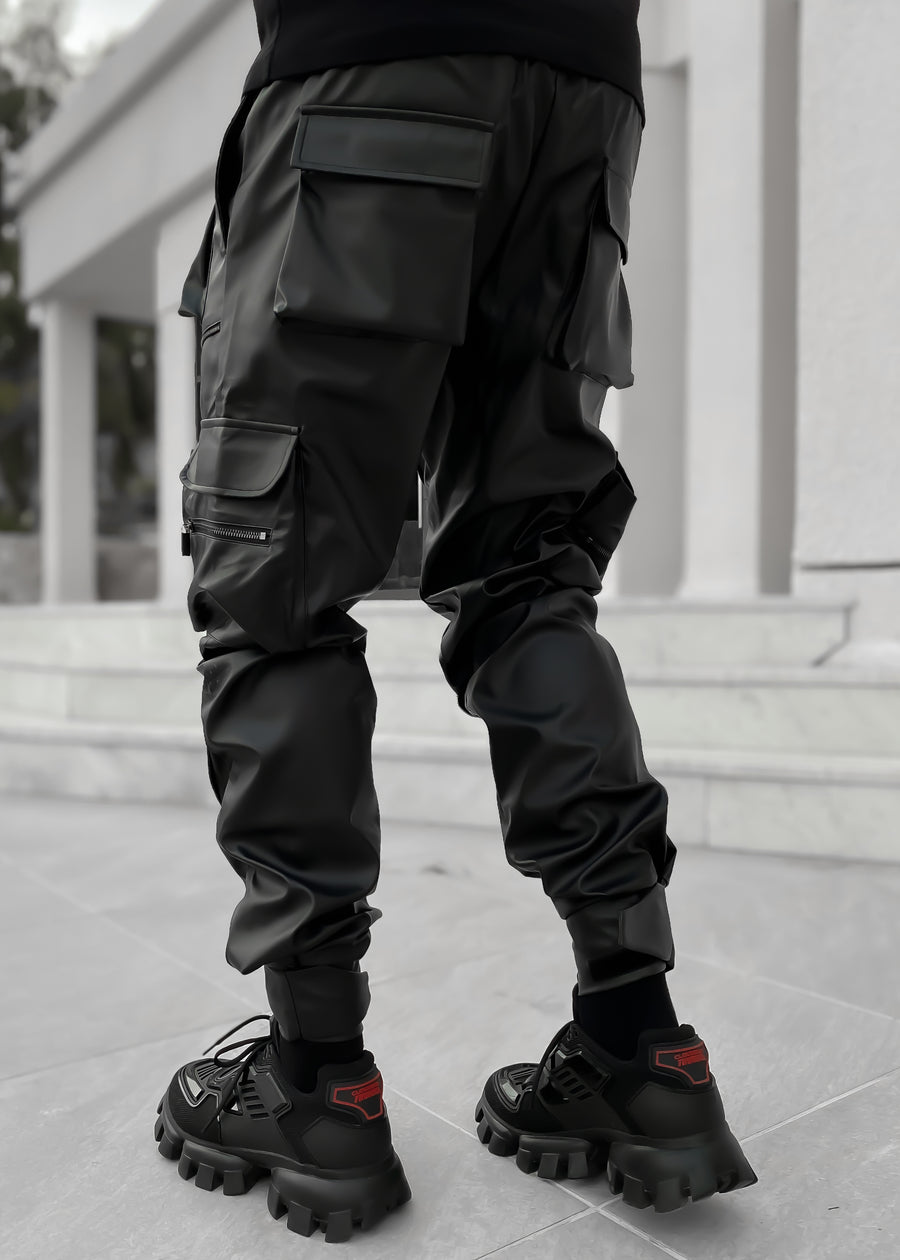 Obsidian Black Leather Cargo Pant
