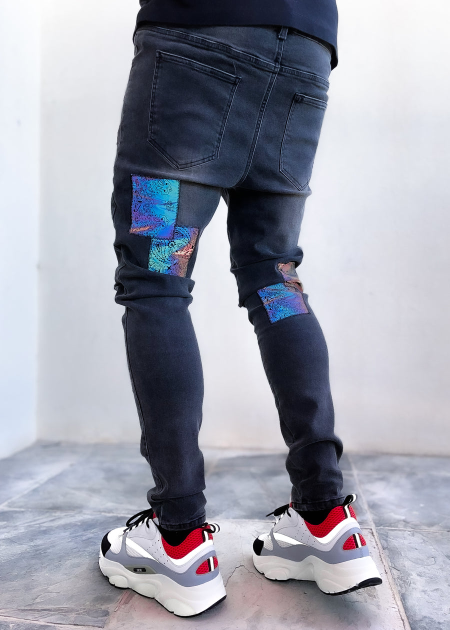 Paisley Patches Reflective Denim
