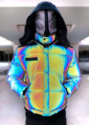 Rainbow Reflective Puffer Jacket