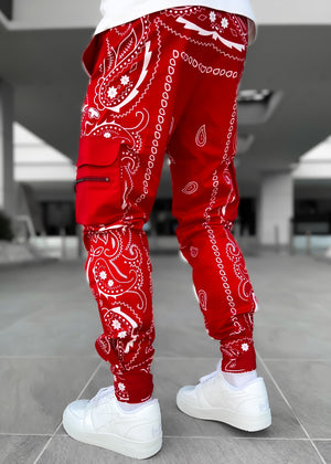 Blood Red Paisley Cargo Pant