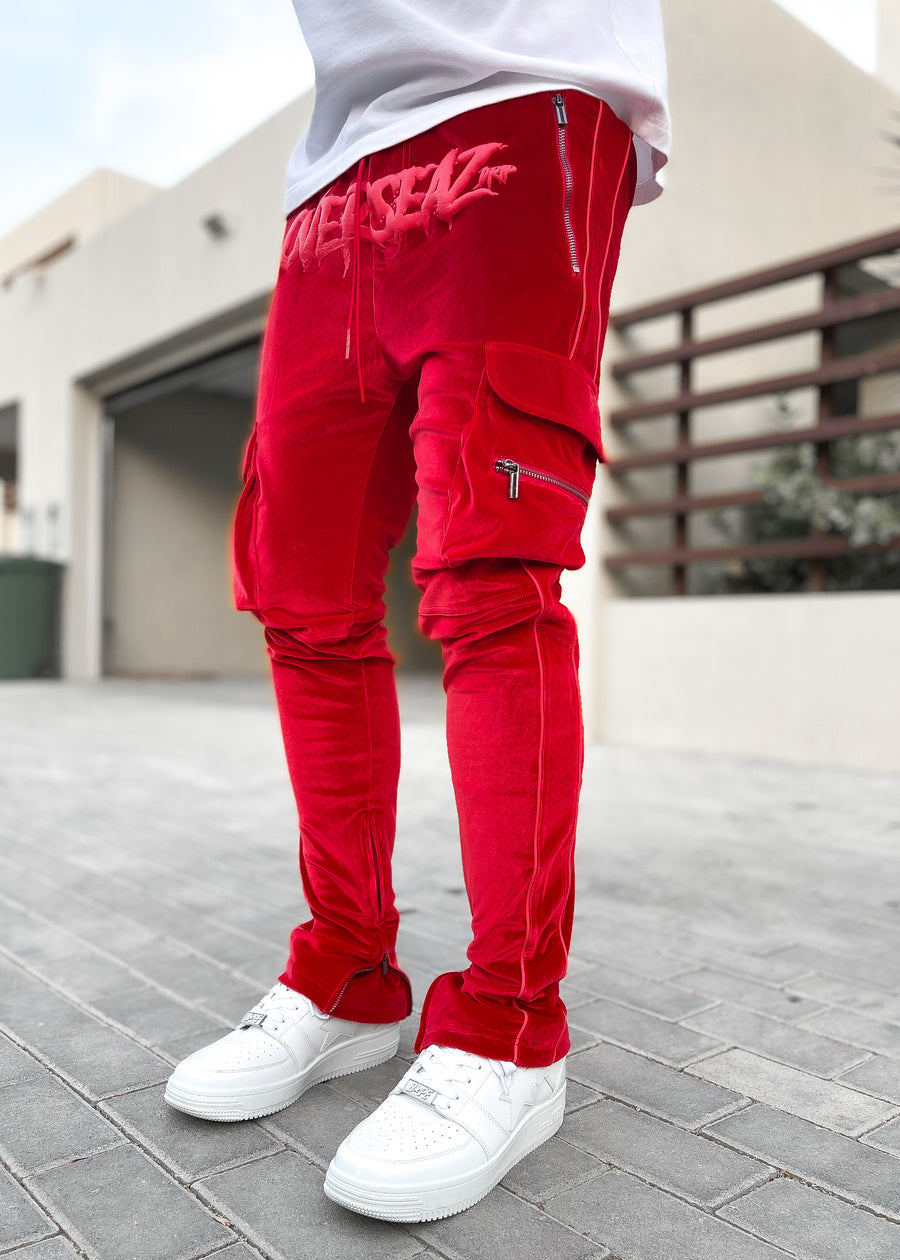 Blood Red Overseaz Velour Track Pants