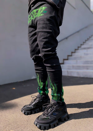 Slime Green Flames Denim