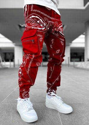 Blood Red Paisley Cargo Pant V2