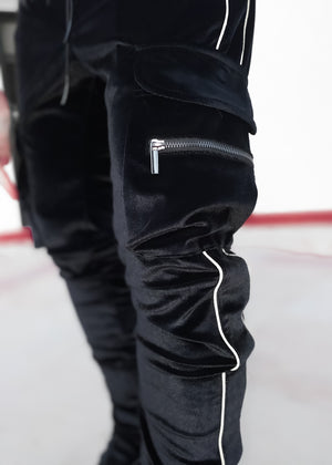 Obsidian Black Velour Track Pants